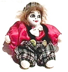Click here to enlarge image and see more about item cf2: Vintage porcelain clown doll figurine