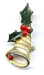 Christmas bell holly brooch pin