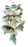 Christmas bells holly brooch pin
