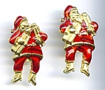 Click here to enlarge image and see more about item chrsantalg1: Santa Claus Christmas enameled post drop earrings