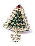 Click here to enlarge image and see more about item chrtree1: Rhinestone Christmas tree brooch pin
