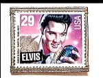 Click here to enlarge image and see more about item cjb44: Elvis Presley postage stamp brooch or pin