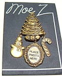 Click here to enlarge image and see more about item cjchtrsnw2: Christmas tree snowman etched design brooch