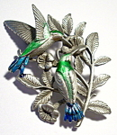 Hummingbirds pewter brooch or pin