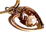 Genuine cultured pearl heart pendant and chain