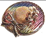 Click to view larger image of vintage ribbon flower rainbow hat brooch (Image1)