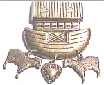 Vintage Noah's Ark brass brooch pin