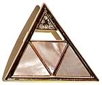 Pyramid design vintage cubic zirconia M.O.P. brooch