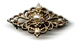 Click to view larger image of Faux Pearl Openwork Brooch (Image1)