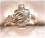 14 K gold cross - praying hands ring