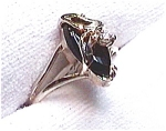 Marquise black onyx 14k gold ring