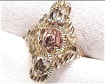 14K white yellow and rose gold rose flower design ring