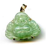 Click here to enlarge image and see more about item fjp6: Smiling Buddha apple jade 14k  gold pendant