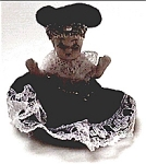 Click here to enlarge image and see more about item fpb22: Vintage ceramic doll figurine in blue dress and hat