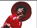 Click here to enlarge image and see more about item fpg13: Chinese girl in red hat 1957 vintage figurine