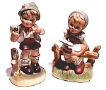 Click here to enlarge image and see more about item fpm2: Vintage Boy & Girl standing figurines