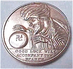 Click here to enlarge image and see more about item glm1: Vintage pre World War II good luck medallion