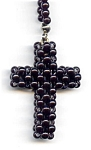 Click here to enlarge image and see more about item jc14blcr: Black cross beaded necklace