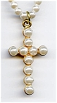 Faux pearl cross design beaded necklace