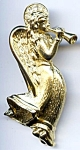 Angel blowing horn gold tone brooch or pin