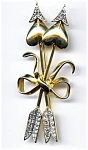 Hearts and arrows rhinestone gold plated brooch or pin
