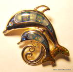 Click here to enlarge image and see more about item jcbrchdlphn4: Dolphin mother and baby vintage brooch or pin