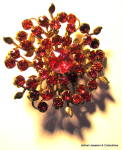 Red rhinestone floral vintage brooch or pin