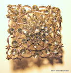 Click here to enlarge image and see more about item jcbrchsqrflgr2: Square filigree design vintage rhinestone brooch or pin