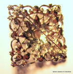 Click to view larger image of Square filigree design vintage rhinestone brooch or pin (Image2)