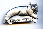 Click here to enlarge image and see more about item jccatpota31: 'Couch Potato' pewter cat brooch or pin
