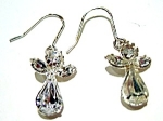 Christmas angel crystal or white rhinestone earrings