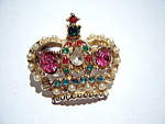 Click here to enlarge image and see more about item jccrwn1: Crown vintage rhinestone brooch