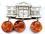 Bank with pennies pewter brooch or pin