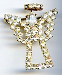 Click here to enlarge image and see more about item jcrhang21:  Angel white rhinestone brooch or pin