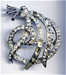 Ribbon design rhinestone brooch or pin