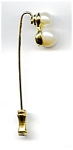 Faux double pearl gold tone stick pin