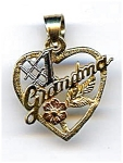 Click here to enlarge image and see more about item jf1gma1: #1 Grandma  14k gold heart pendant