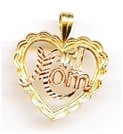 Click here to enlarge image and see more about item jf1mom1: #1 Mom tricolor 14k gold heart pendant