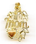 #1 Mom tricolor 14k gold pendant