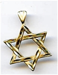 14K gold Star of David pendant charm
