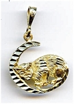 14K Gold 'Cat in the Moon' pendant charm