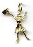 14k gold Cheerleader pendant charm