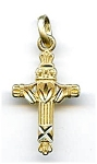14K Gold Claddah Crown Heart Hands Cross Pendant