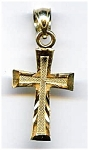 14K gold nugget design cross pendant