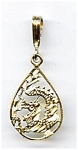 Click here to enlarge image and see more about item jf52drag2: 14K gold dragon charm pendant