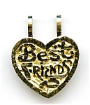 Click here to enlarge image and see more about item jf58best: 14K gold Best Friends charm pendant