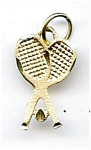 Click here to enlarge image and see more about item jf62tenn: Tennis racquets 14k gold pendant charm