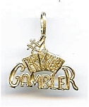 Click here to enlarge image and see more about item jf64gamb: #1 Gambler 14K gold pendant charm