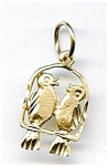 Click here to enlarge image and see more about item jf67birds: Love birds 14K gold pendant charm