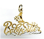 Click here to enlarge image and see more about item jfbbsit4: #1 Babysitter 14k gold pendant or charm